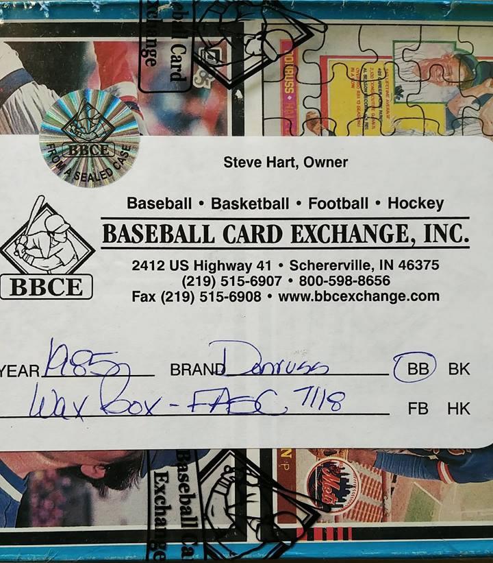 1985 Donruss Baseball Wax Box Fasc Bbce