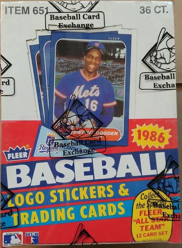 1986 Fleer Baseball Wax Box Bbce